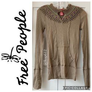 Free People Crochet Hooded Thermal Pullover